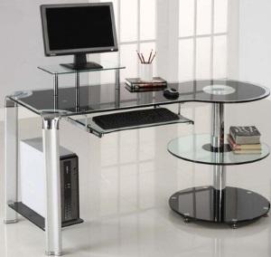 Szklane biurku w nowoczesnym stylu