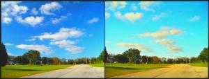 Porównanie zdjęć z gdzie wykorzystano obiektywy z polyrazacją oraz bez