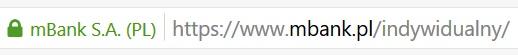 Przykład certyfikatu SSL na podstawie banku strony mBank.pl